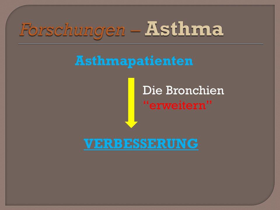 Asthmapatienten VERBESSERUNG Die Bronchien erweitern
