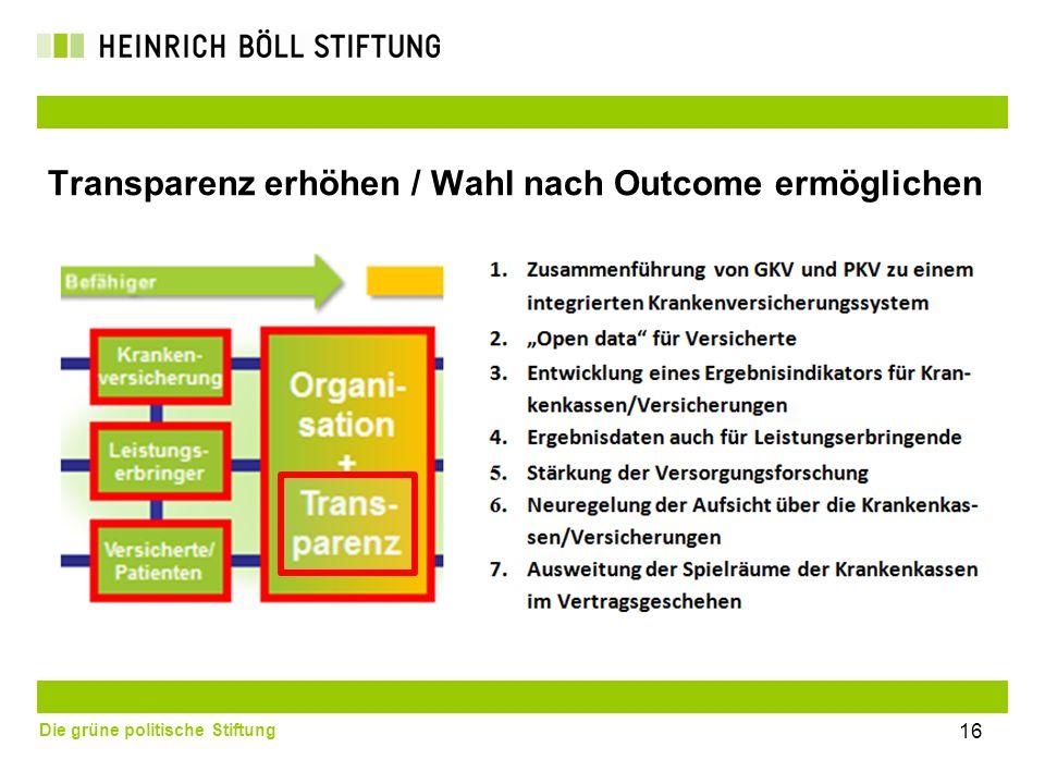 Die grüne politische Stiftung 16 Transparenz erhöhen / Wahl nach Outcome ermöglichen