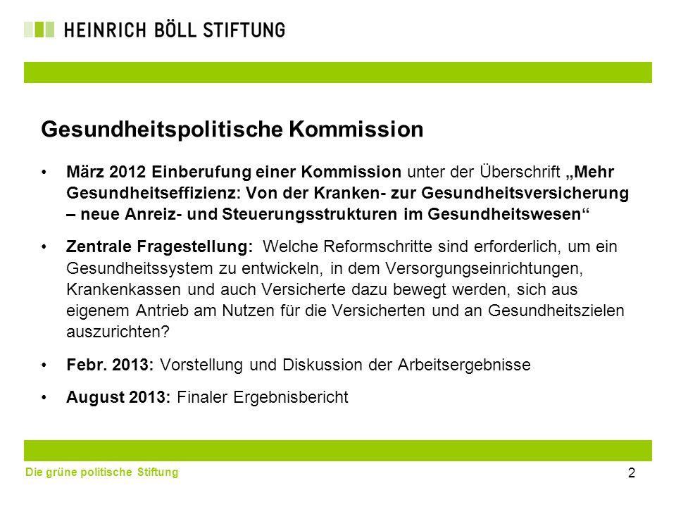 Die grüne politische Stiftung 2 Gesundheitspolitische Kommission März 2012 Einberufung einer Kommission unter der Überschrift Mehr Gesundheitseffizien