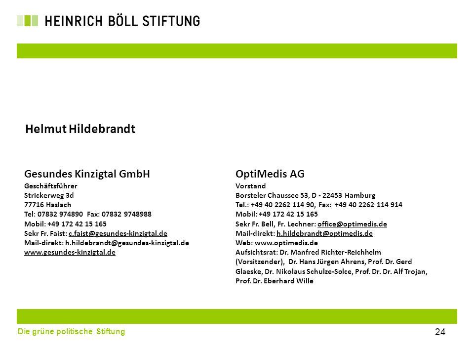 Die grüne politische Stiftung Gesundes Kinzigtal GmbH Geschäftsführer Strickerweg 3d 77716 Haslach Tel: 07832 974890 Fax: 07832 9748988 Mobil: +49 172