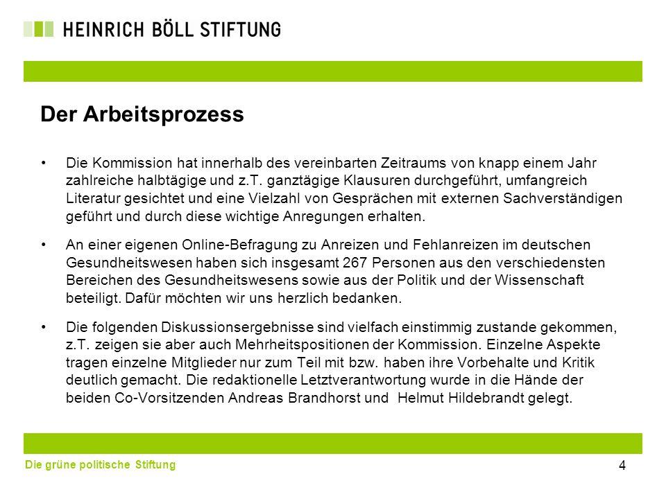Die grüne politische Stiftung Der Arbeitsprozess Die Kommission hat innerhalb des vereinbarten Zeitraums von knapp einem Jahr zahlreiche halbtägige un