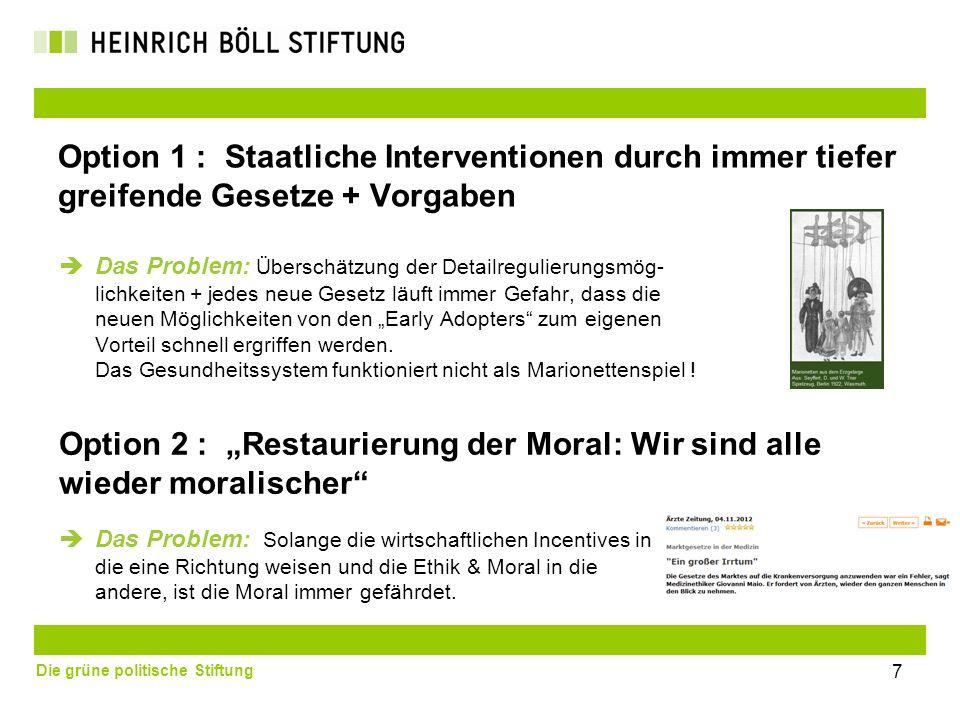 Die grüne politische Stiftung Option 1 : Staatliche Interventionen durch immer tiefer greifende Gesetze + Vorgaben Das Problem: Überschätzung der Deta