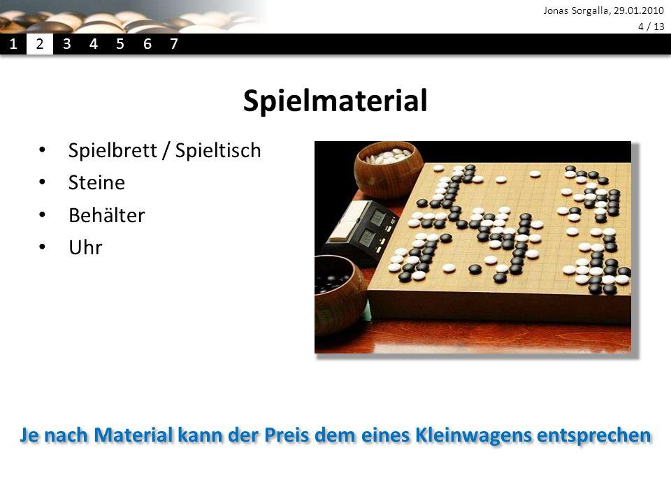 Jonas Sorgalla, 29.01.2010 4 / 13 Spielmaterial Spielbrett / Spieltisch Steine Behälter Uhr Je nach Material kann der Preis dem eines Kleinwagens entsprechen 1 2 34 5 6 7