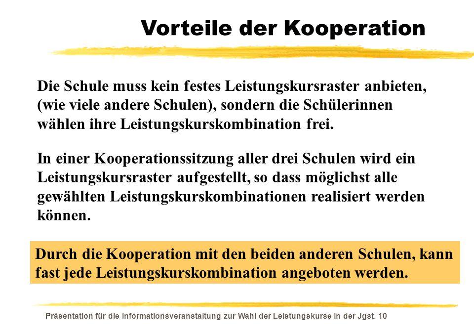 Präsentation für die Informationsveranstaltung zur Wahl der Leistungskurse in der Jgst. 10 Vorteile der Kooperation Durch die Kooperation mit den beid