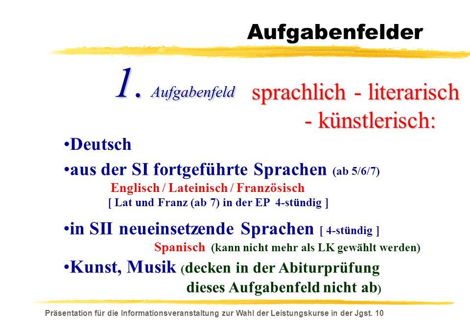 Präsentation für die Informationsveranstaltung zur Wahl der Leistungskurse in der Jgst. 10 Aufgabenfelder sprachlich - literarisch - künstlerisch: - k