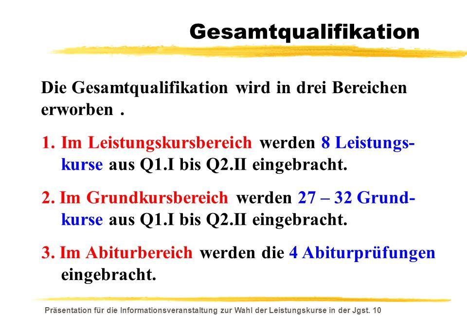 Präsentation für die Informationsveranstaltung zur Wahl der Leistungskurse in der Jgst. 10 Gesamtqualifikation Die Gesamtqualifikation wird in drei Be