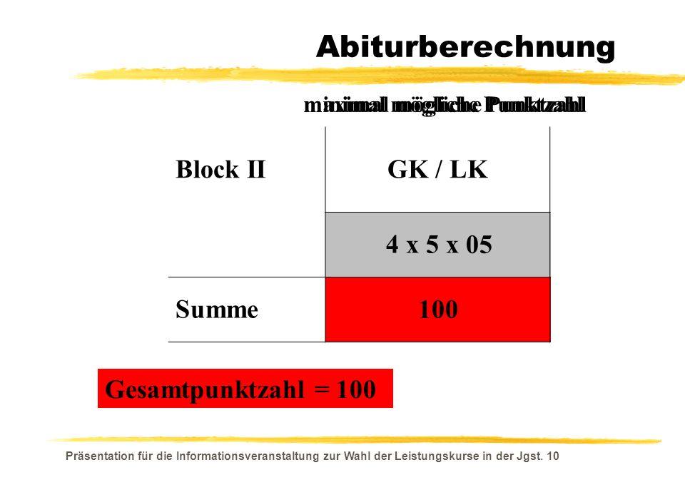 Präsentation für die Informationsveranstaltung zur Wahl der Leistungskurse in der Jgst. 10 15 300 05 100 maximal mögliche Punktzahl Gesamtpunktzahl =
