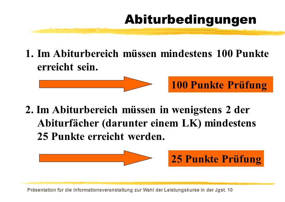 Präsentation für die Informationsveranstaltung zur Wahl der Leistungskurse in der Jgst. 10 Abiturbedingungen 1.Im Abiturbereich müssen mindestens 100