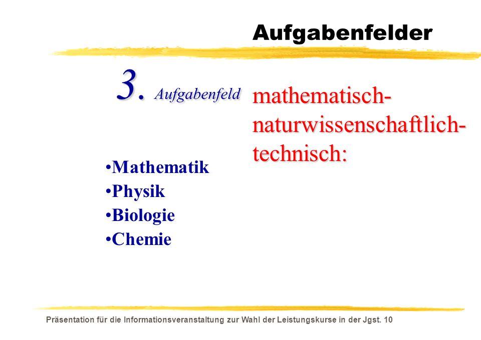 Präsentation für die Informationsveranstaltung zur Wahl der Leistungskurse in der Jgst. 10 Aufgabenfelder mathematisch- naturwissenschaftlich- technis