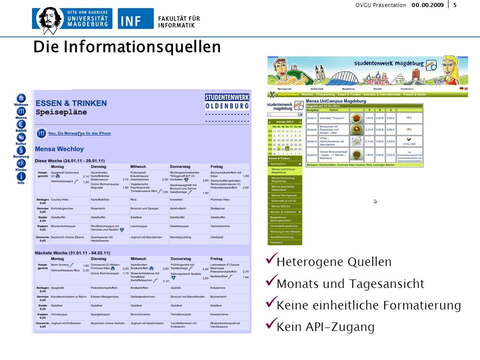 500.00.2009 OVGU Präsentation Heterogene Quellen Monats und Tagesansicht Keine einheitliche Formatierung Kein API-Zugang Die Informationsquellen