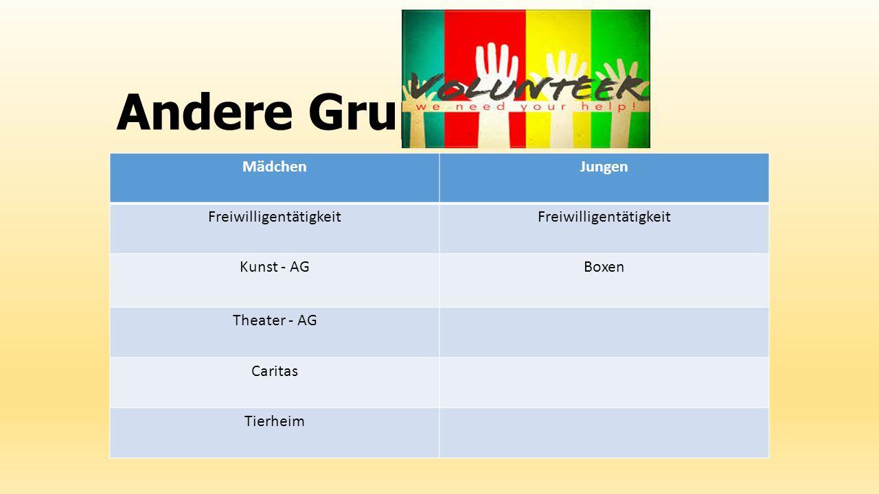 Andere Gruppe MädchenJungen Freiwilligentätigkeit Kunst - AGBoxen Theater - AG Caritas Tierheim