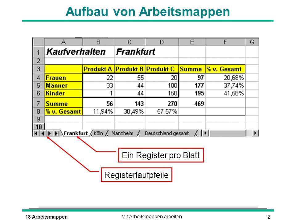 213 ArbeitsmappenMit Arbeitsmappen arbeiten Aufbau von Arbeitsmappen Ein Register pro Blatt Registerlaufpfeile