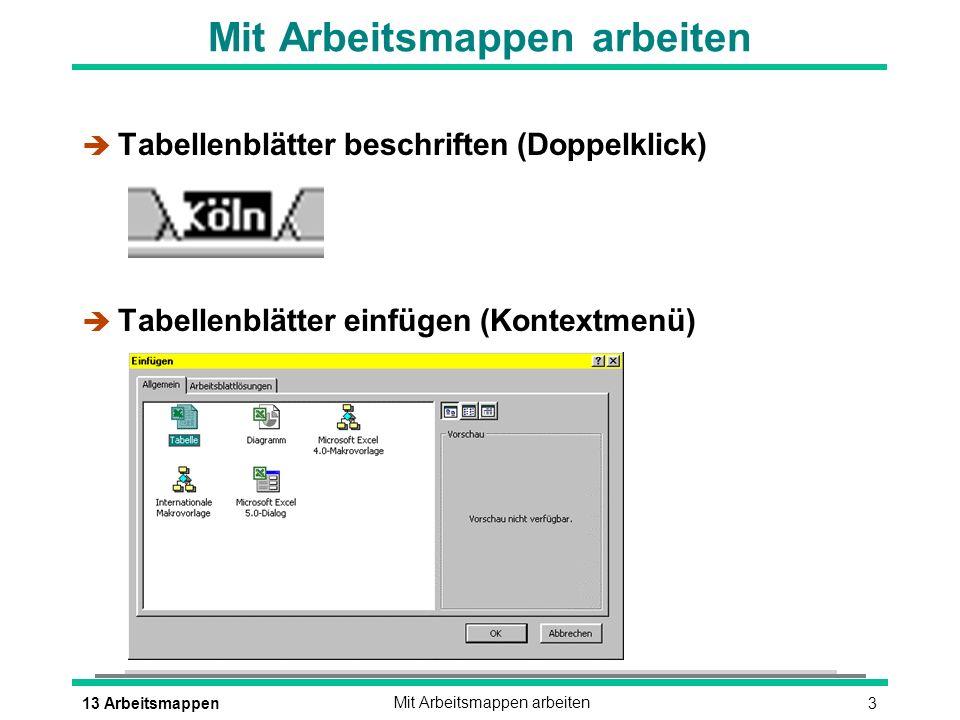 313 ArbeitsmappenMit Arbeitsmappen arbeiten è Tabellenblätter beschriften (Doppelklick) è Tabellenblätter einfügen (Kontextmenü)