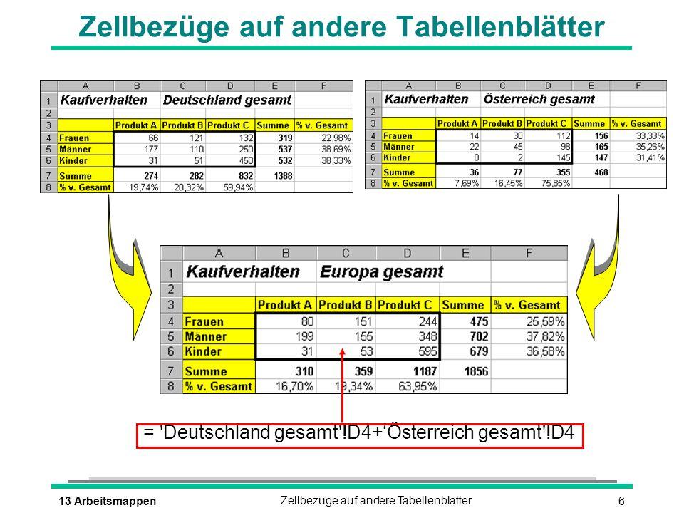 613 ArbeitsmappenZellbezüge auf andere Tabellenblätter = 'Deutschland gesamt'!D4+Österreich gesamt'!D4