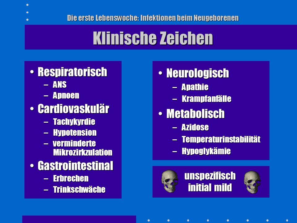 Die erste Lebenswoche: Infektionen beim Neugeborenen Laboruntersuchungen BlutbildBlutbild –Leukopenie, Leukozytose –Linksverschiebung –Toxische Granula, basophile Schlieren –Thrombozytopenie CRP-Erhöhung (Cave Latenz)CRP-Erhöhung (Cave Latenz) BlutgasanalyseBlutgasanalyse –metabolische Azidose
