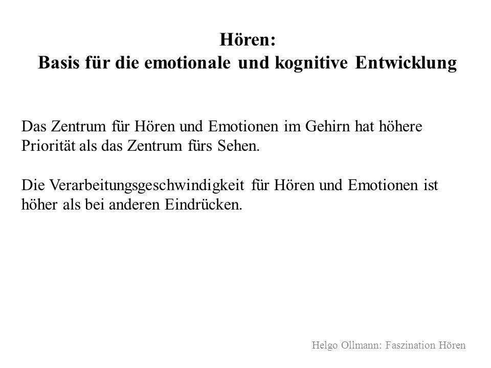 Helgo Ollmann: Faszination Hören Hören: Basis für die emotionale und kognitive Entwicklung Das Zentrum für Hören und Emotionen im Gehirn hat höhere Pr