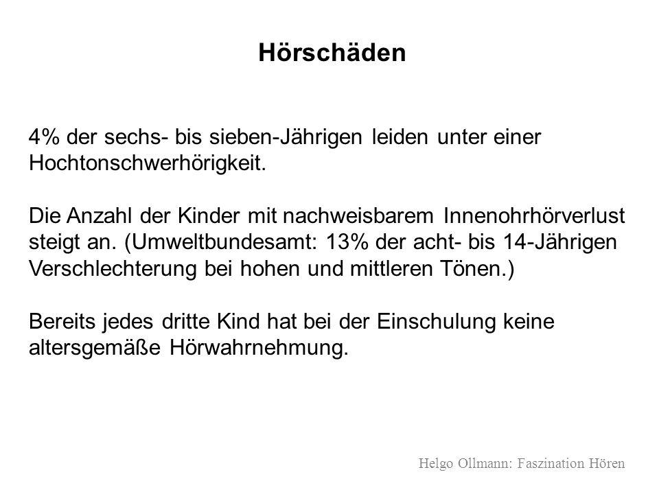 Helgo Ollmann: Faszination Hören Hörschäden 4% der sechs- bis sieben-Jährigen leiden unter einer Hochtonschwerhörigkeit. Die Anzahl der Kinder mit nac