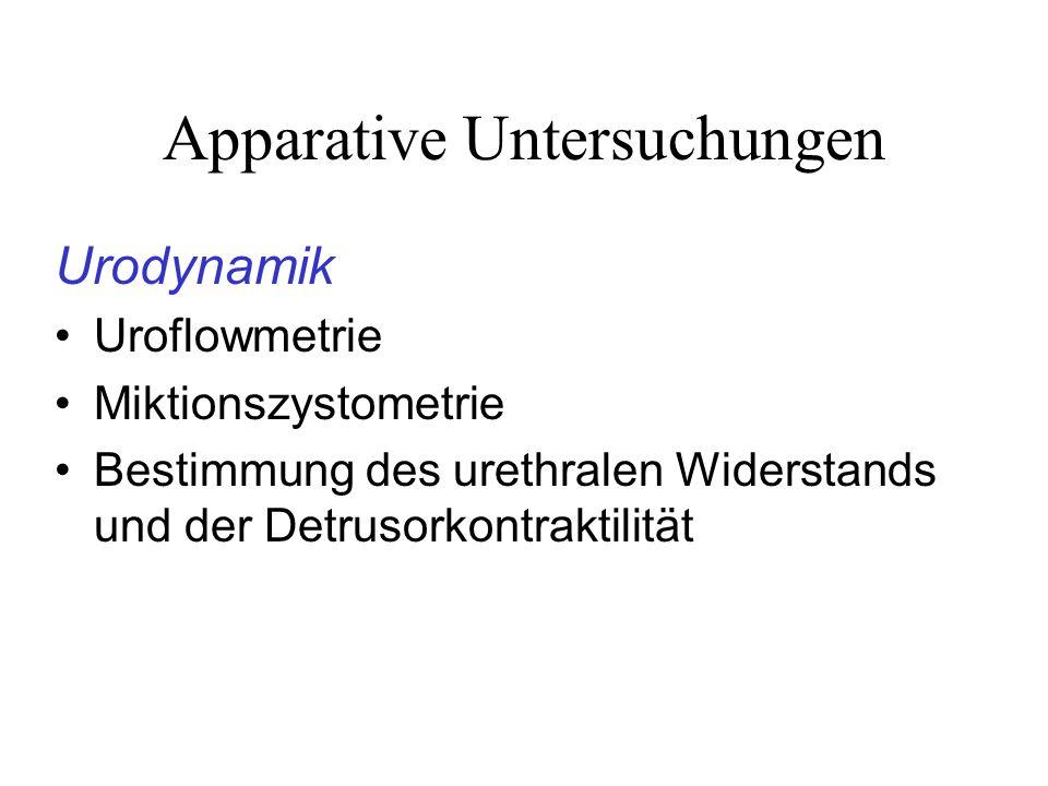 Apparative Untersuchungen Urodynamik Uroflowmetrie Miktionszystometrie Bestimmung des urethralen Widerstands und der Detrusorkontraktilität