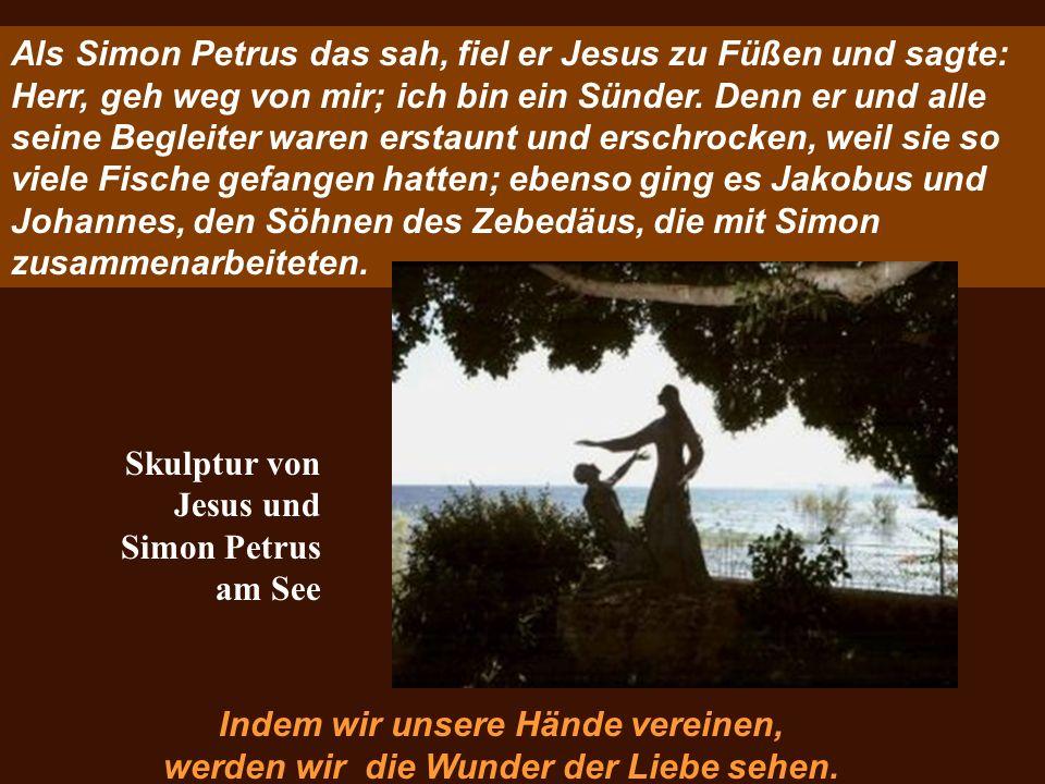 Als Simon Petrus das sah, fiel er Jesus zu Füßen und sagte: Herr, geh weg von mir; ich bin ein Sünder. Denn er und alle seine Begleiter waren erstaunt
