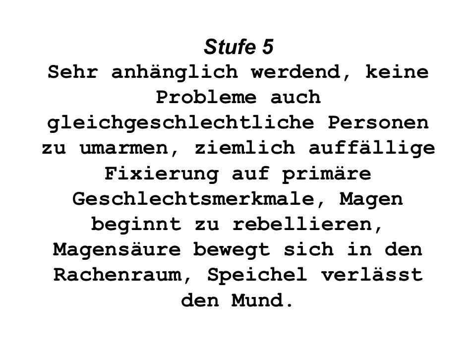 Stufe 5 Sehr anhänglich werdend, keine Probleme auch gleichgeschlechtliche Personen zu umarmen, ziemlich auffällige Fixierung auf primäre Geschlechtsm