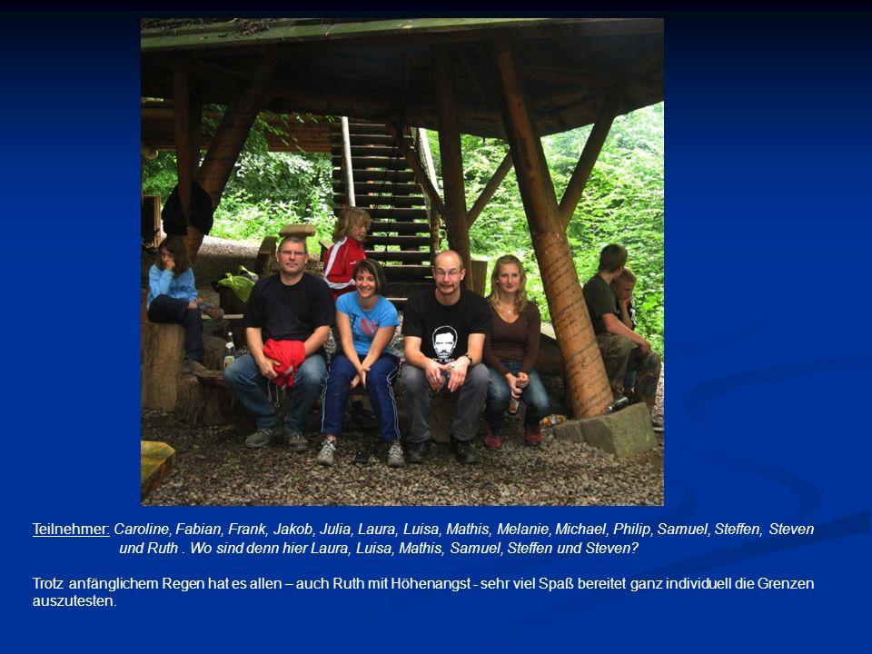 Teilnehmer: Caroline, Fabian, Frank, Jakob, Julia, Laura, Luisa, Mathis, Melanie, Michael, Philip, Samuel, Steffen, Steven und Ruth. Wo sind denn hier