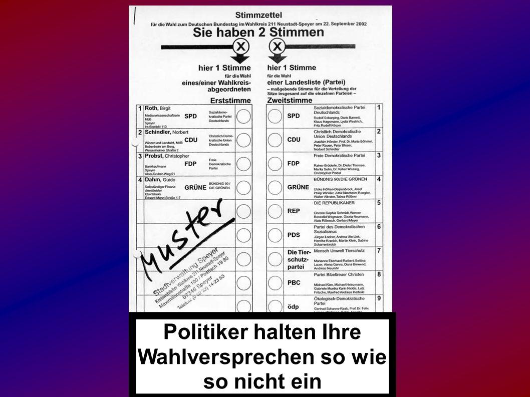 Politiker halten Ihre Wahlversprechen so wie so nicht ein