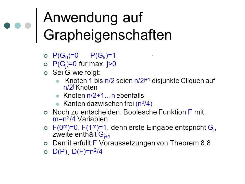 Anwendung auf Grapheigenschaften P(G 0 )=0 P(G k )=1 P(G j )=0 für max. j>0 Sei G wie folgt: Knoten 1 bis n/2 seien n/2 j+1 disjunkte Cliquen auf n/2
