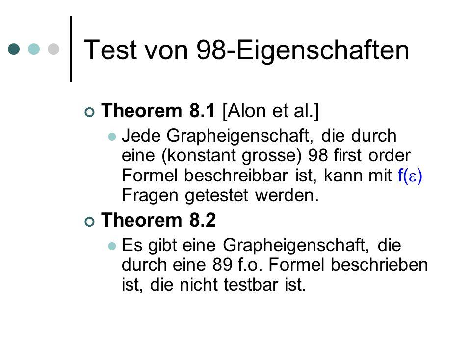 Test von 98-Eigenschaften Theorem 8.1 [Alon et al.] Jede Grapheigenschaft, die durch eine (konstant grosse) 98 first order Formel beschreibbar ist, kann mit f( ) Fragen getestet werden.