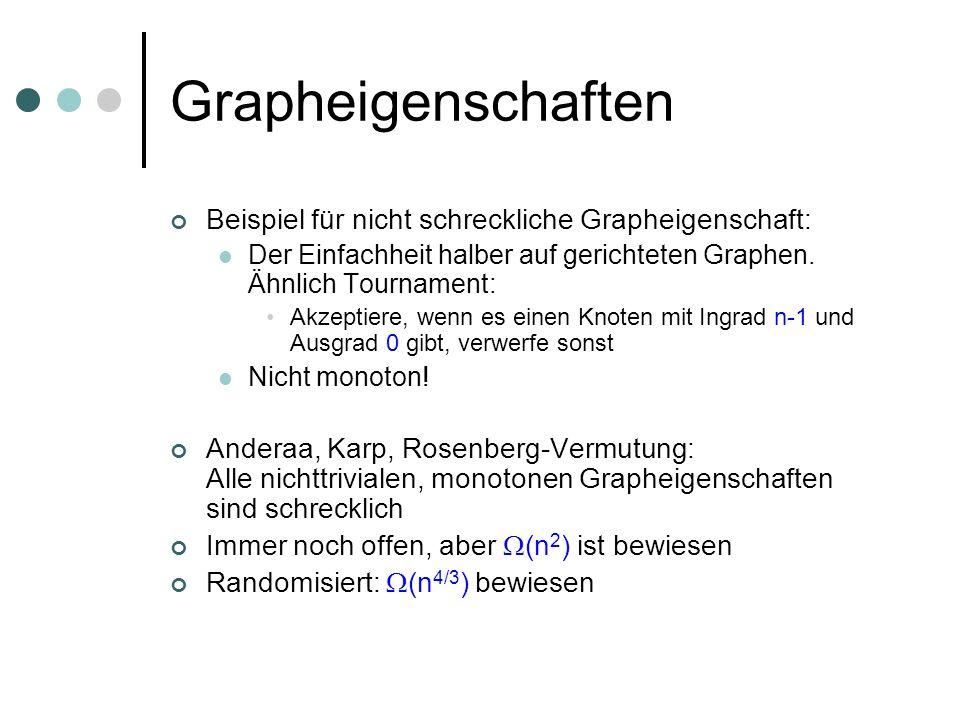 Grapheigenschaften Beispiel für nicht schreckliche Grapheigenschaft: Der Einfachheit halber auf gerichteten Graphen. Ähnlich Tournament: Akzeptiere, w