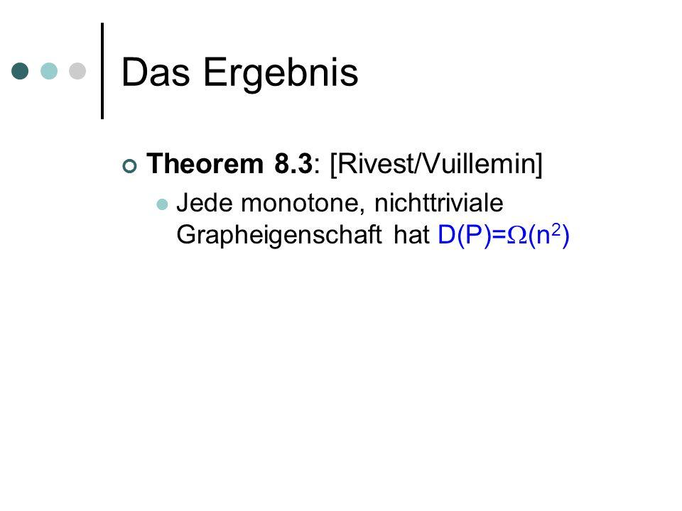 Beweis des Lemmas Lemma 8.10: |orbit(x)| ist Vielfaches von p für alle x 0 n, 1 n |orbit(x)| >1 y2 orbit(x) |y|= y2 orbit(x) i y i = i y2 orbit(x) y i =n y2 orbit(x) y 1 ; Denn: f invariant unter H, und H transitiv Ausserdem: y2 orbit(x) |y|=|x| |orbit(x)| Also n ( y2 orbit(x) y 1 )=|x| |orbit(x)| Damit ist |orbit(x)| ein Vielfaches von p,qed