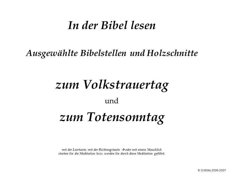 In der Bibel lesen Ausgewählte Bibelstellen und Holzschnitte zum Volkstrauertag und zum Totensonntag mit der Leertaste, mit der Richtungstaste oder mi