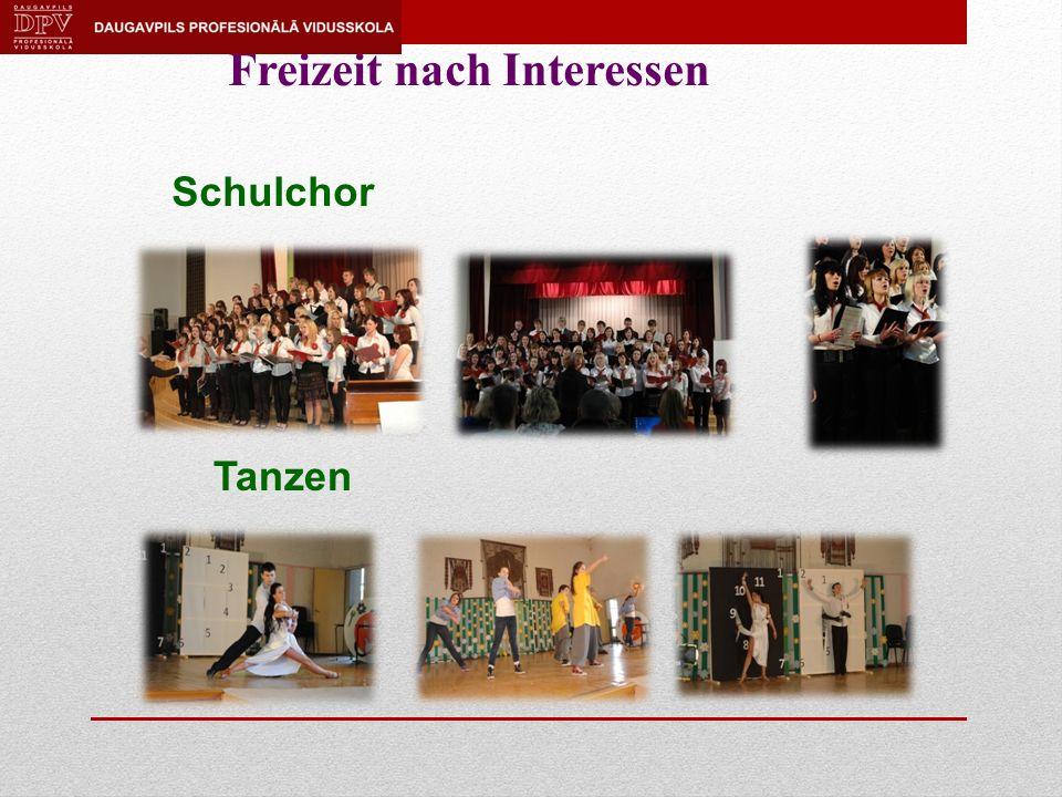 Freizeit nach Interessen Schulchor Tanzen
