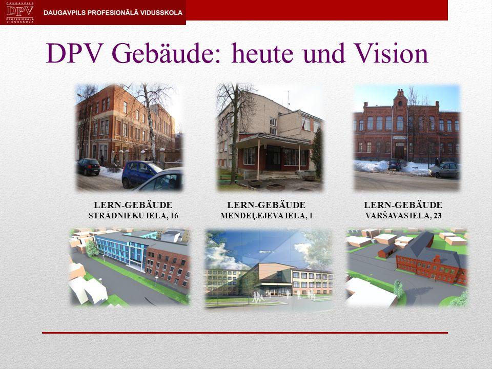 DPV Gebäude: heute und Vision LERN-GEBÄUDE STRĀDNIEKU IELA, 16 LERN-GEBÄUDE MENDEĻEJEVA IELA, 1 LERN-GEBÄUDE VARŠAVAS IELA, 23