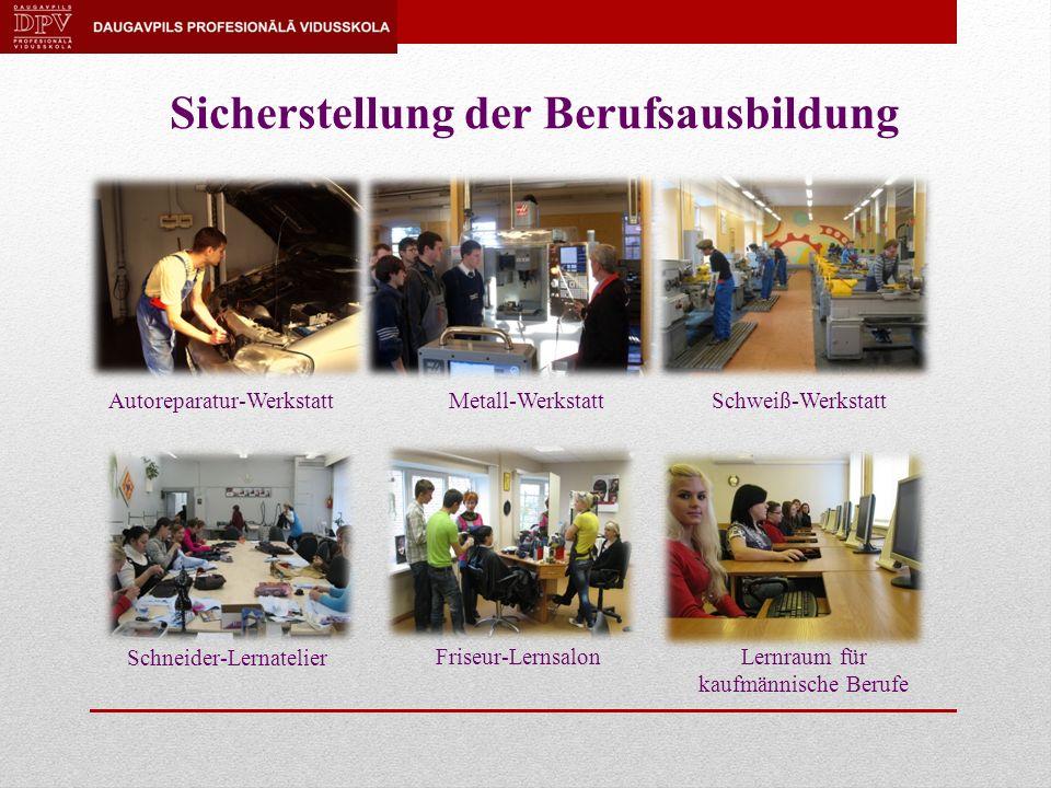 Sicherstellung der Berufsausbildung Autoreparatur-WerkstattMetall-WerkstattSchweiß-Werkstatt Lernraum für kaufmännische Berufe Friseur-Lernsalon Schneider-Lernatelier
