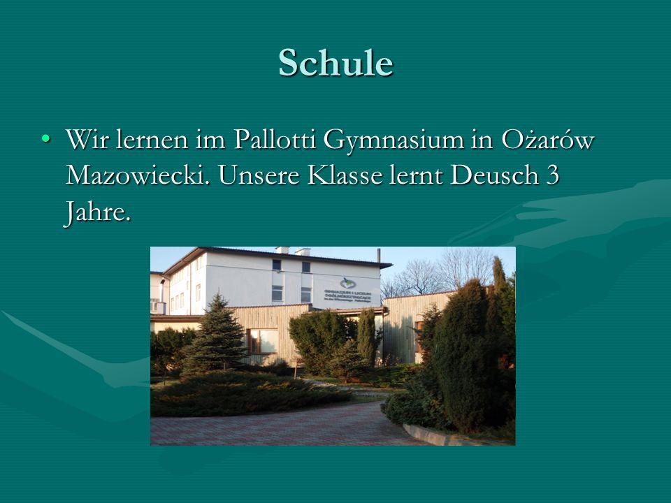 Schule Wir lernen im Pallotti Gymnasium in Ożarów Mazowiecki.