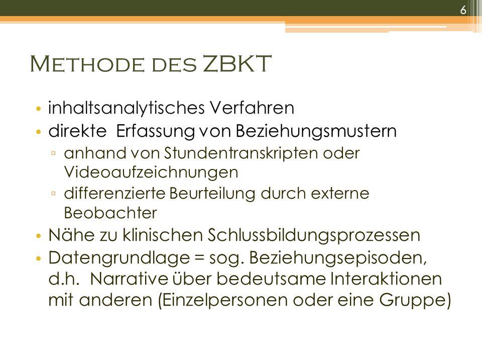 Methode des ZBKT inhaltsanalytisches Verfahren direkte Erfassung von Beziehungsmustern anhand von Stundentranskripten oder Videoaufzeichnungen differe
