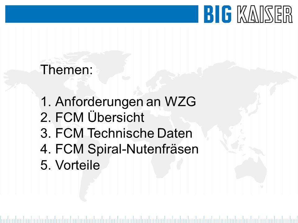 Themen: 1.Anforderungen an WZG 2.FCM Übersicht 3.FCM Technische Daten 4.FCM Spiral-Nutenfräsen 5.Vorteile