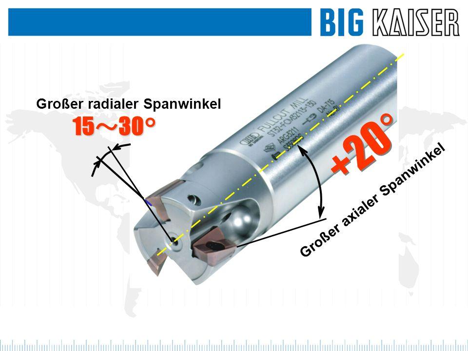 +20° Großer axialer Spanwinkel Großer radialer Spanwinkel 15 30°