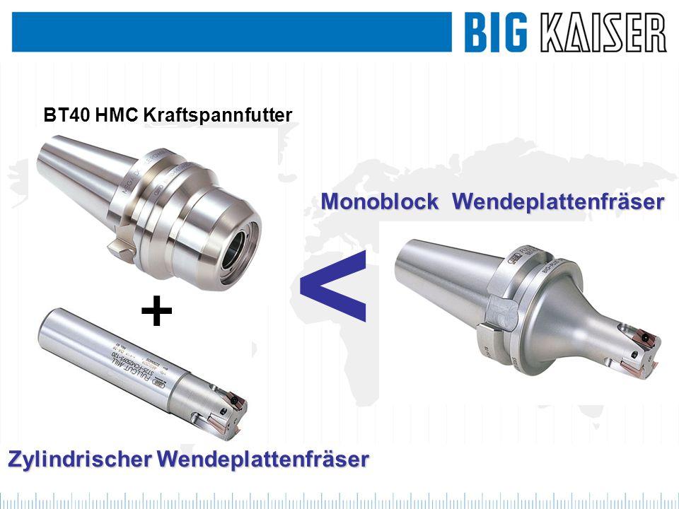 < Zylindrischer Wendeplattenfräser BT40 HMC Kraftspannfutter Monoblock Wendeplattenfräser