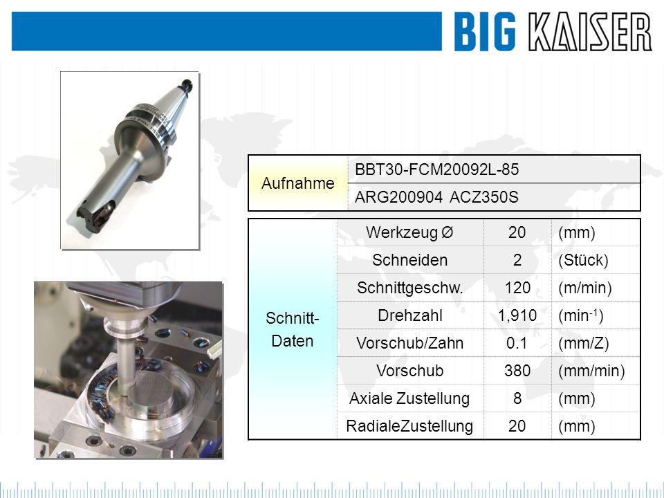 Schnitt- Daten Werkzeug Ø20(mm) Schneiden2(Stück) Schnittgeschw.120(m/min) Drehzahl1,910(min -1 ) Vorschub/Zahn0.1(mm/Z) Vorschub380(mm/min) Axiale Zu