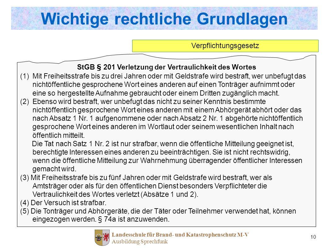 Landesschule für Brand- und Katastrophenschutz M-V Ausbildung Sprechfunk 10 StGB § 201 Verletzung der Vertraulichkeit des Wortes (1)Mit Freiheitsstraf