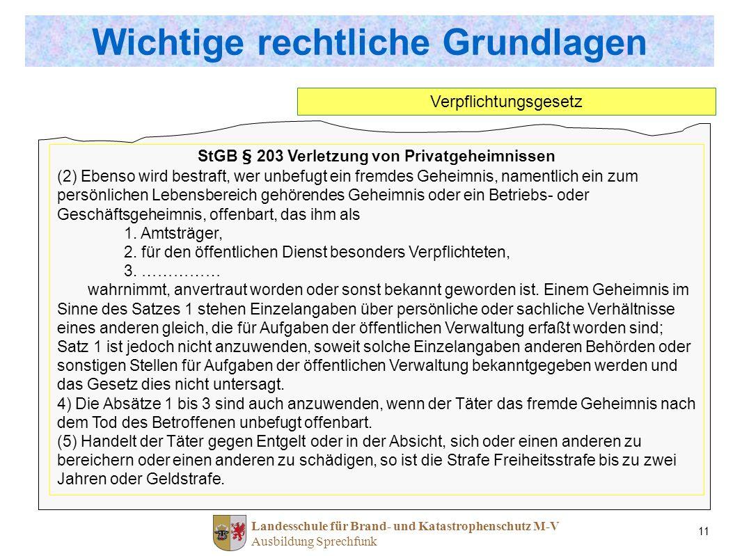 Landesschule für Brand- und Katastrophenschutz M-V Ausbildung Sprechfunk 11 StGB § 203 Verletzung von Privatgeheimnissen (2) Ebenso wird bestraft, wer