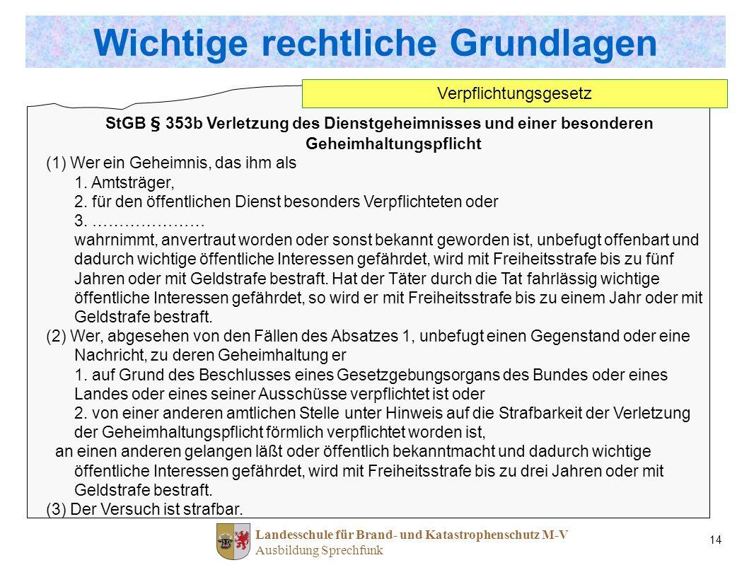 Landesschule für Brand- und Katastrophenschutz M-V Ausbildung Sprechfunk 14 StGB § 353b Verletzung des Dienstgeheimnisses und einer besonderen Geheimh