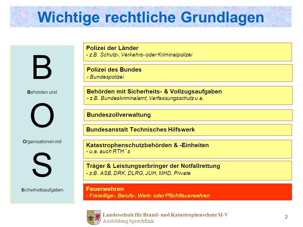 Landesschule für Brand- und Katastrophenschutz M-V Ausbildung Sprechfunk 2 Wichtige rechtliche Grundlagen Polizei der Länder - z.B. Schutz-, Verkehrs-