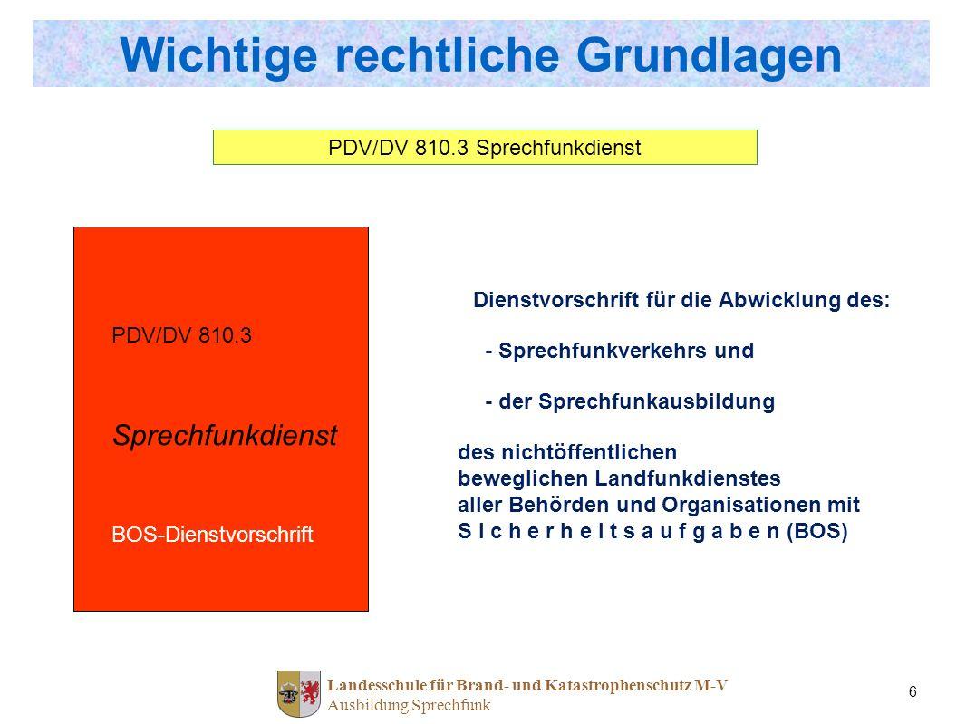 Landesschule für Brand- und Katastrophenschutz M-V Ausbildung Sprechfunk 6 Wichtige rechtliche Grundlagen PDV/DV 810.3 Sprechfunkdienst BOS-Dienstvors
