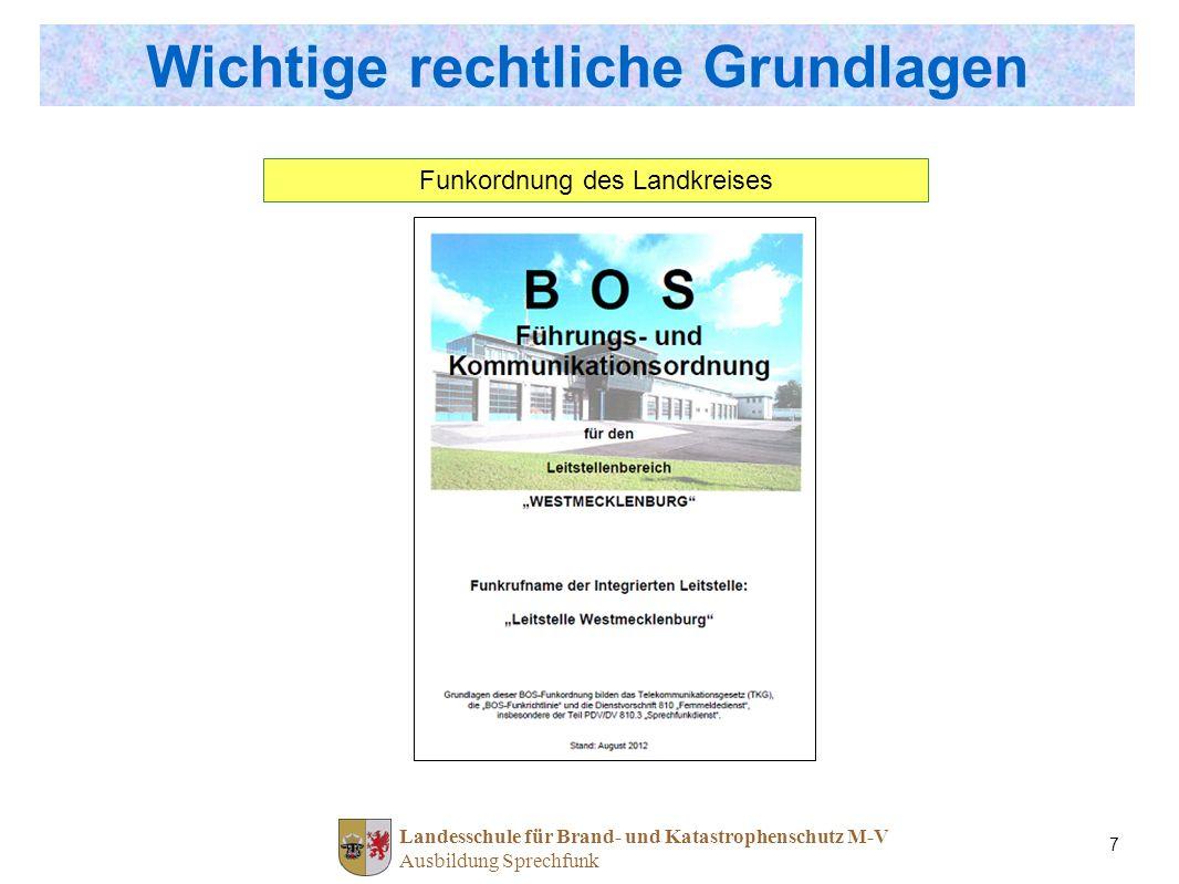 Landesschule für Brand- und Katastrophenschutz M-V Ausbildung Sprechfunk 7 Wichtige rechtliche Grundlagen Funkordnung des Landkreises