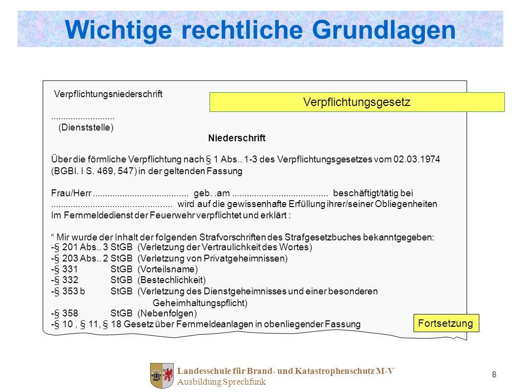 Landesschule für Brand- und Katastrophenschutz M-V Ausbildung Sprechfunk 8 Wichtige rechtliche Grundlagen Verpflichtungsniederschrift.................