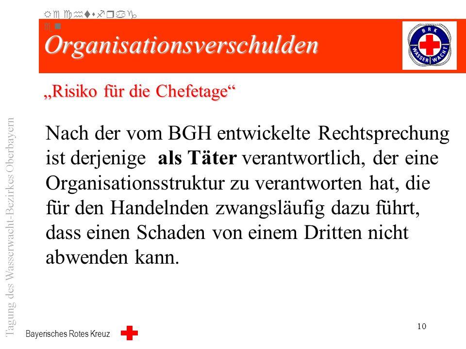 Bayerisches Rotes Kreuz 9 Haftungsprivileg Rechtsfrag en Tagung des Wasserwacht-Bezirkes Oberbayern Aber: Rettungsdienst ist staatliche Aufgabe und St