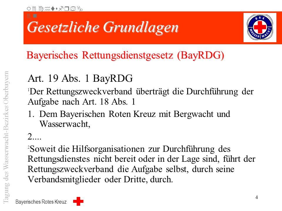 Bayerisches Rotes Kreuz 3 Gesetzliche Grundlagen Art. 18 Abs. 1 BayRDG 1 Die Landkreise und die kreisfreien Gemeinden haben die Aufgabe, Notfallrettun