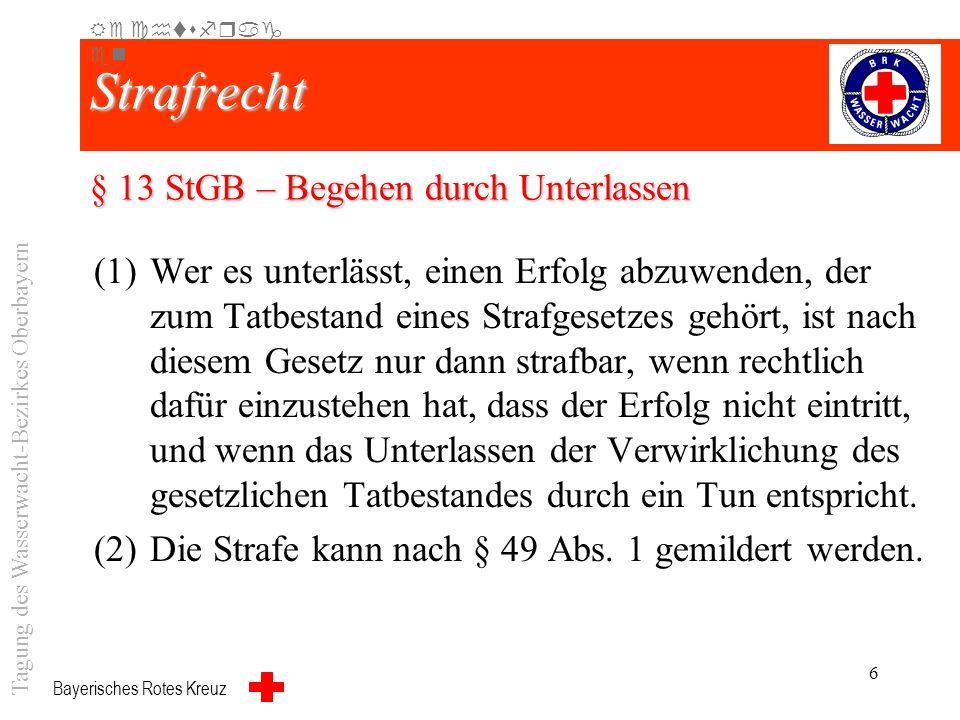 Bayerisches Rotes Kreuz 5 Garantenstellung Die Übernahme des Wasserrettungsdienstes führt zu einer Garantenstellung Garantenstellung. Dies bedeutet di